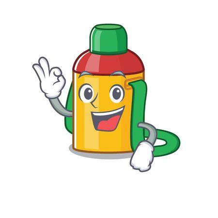 Kids water bottle Scroll mascot design making an Okay gesture