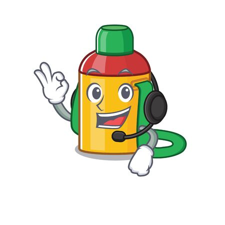 cute kids water bottle Scroll cartoon character design wearing headphone Illustration