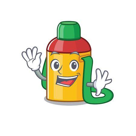 Waving cute smiley kids water bottle Scroll cartoon character design
