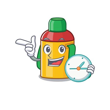smiling kids water bottle Scroll cartoon character style with clock. Vector illustration