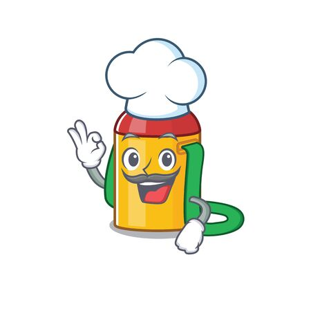 Funny Chef kids water bottle Scroll cartoon character wearing white hat. Vector illustration