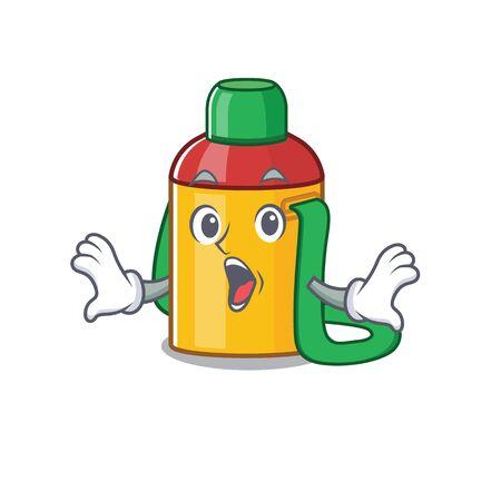 Kids water bottle Scroll Surprised gesture on cartoon character style. Vector illustration Illustration