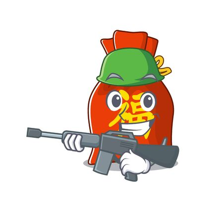 A mascot of chinese money bag Scroll Army with machine gun Иллюстрация