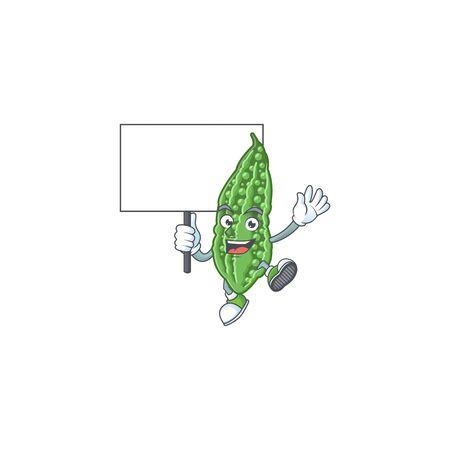 Bitter Melone niedlichen Cartoon-Charakter-Stil bringen Board. Vektor-Illustration