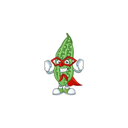 A cartoon of bitter melon with Super hero costume. Vector illustration