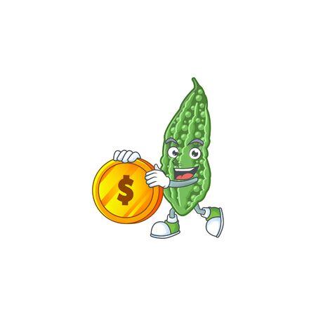 Happy Face Bittermelonen-Cartoon-Figur mit Goldmünze. Vektor-Illustration Vektorgrafik