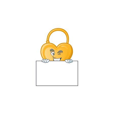 Grinning love padlock cartoon character style hides behind a board. Vector illustration