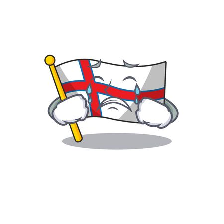 Sad Crying flag faroe island Scroll cartoon character design 向量圖像