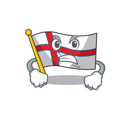 angry face flag faroe island Scroll cartoon character design