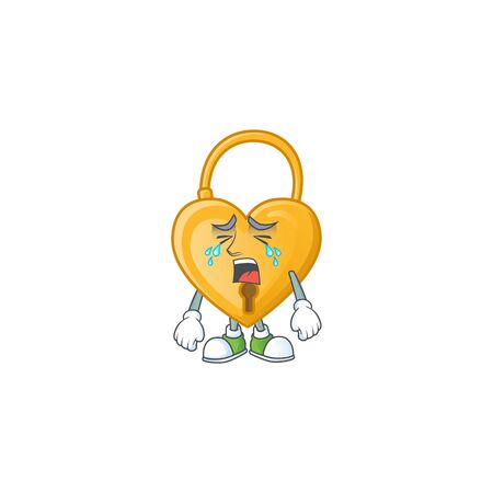 Sad Crying gesture love padlock cartoon character style. Vector illustration