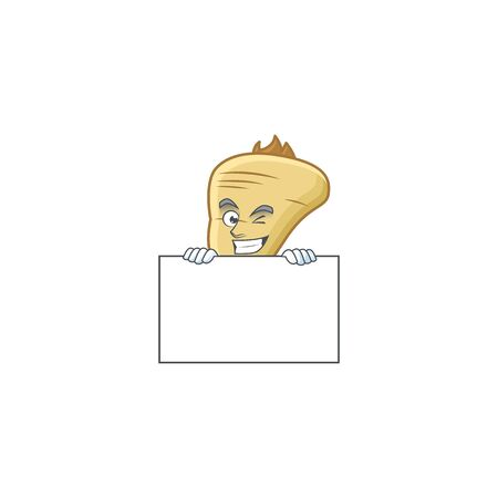 Grinning parsnip cartoon character style hides behind a board. Vector illustration