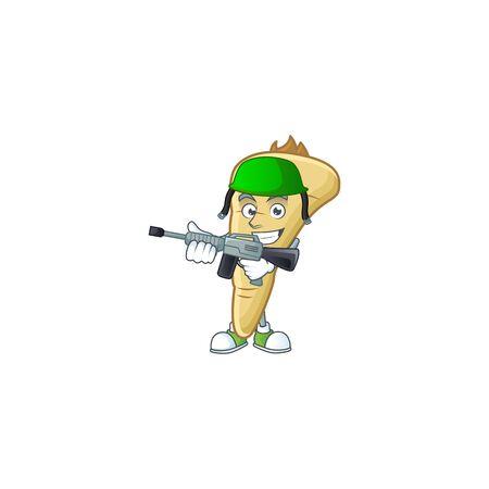 A mascot of parsnip as an Army with machine gun