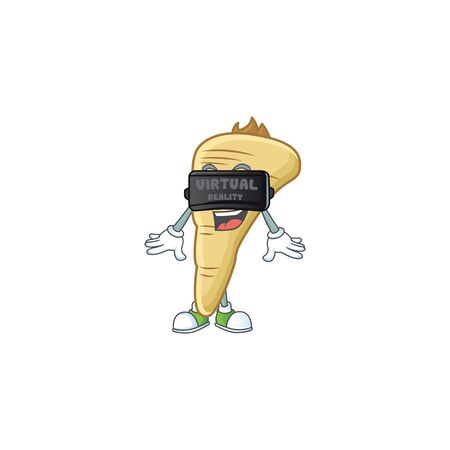 cool parsnip character with Virtual reality headset. Vector illustration