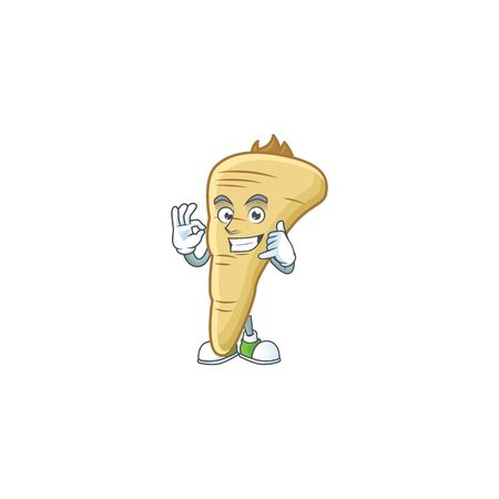 Call me cool parsnip cartoon character design. Vector illustration