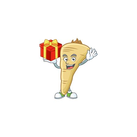 Parsnip cartoon character with a box of gift