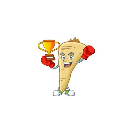 Super cool Boxing winner parsnip in mascot cartoon style