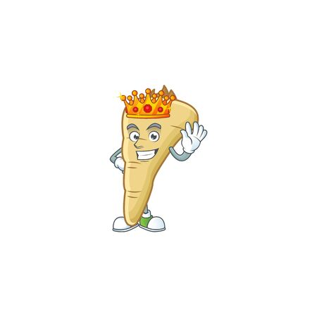 Cool King of parsnip on cartoon character style Ilustracja