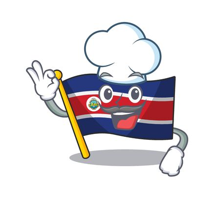 Funny Chef flag costa rica Scroll cartoon character wearing white hat. Vector illustration