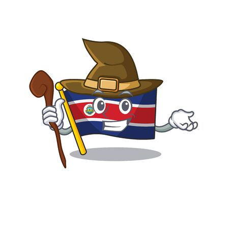 Happy Witch flag costa rica Scroll cartoon character design. Vector illustration