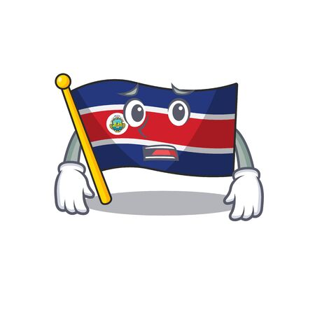 mascot of flag costa rica Scroll showing afraid look face. Vector illustration 向量圖像