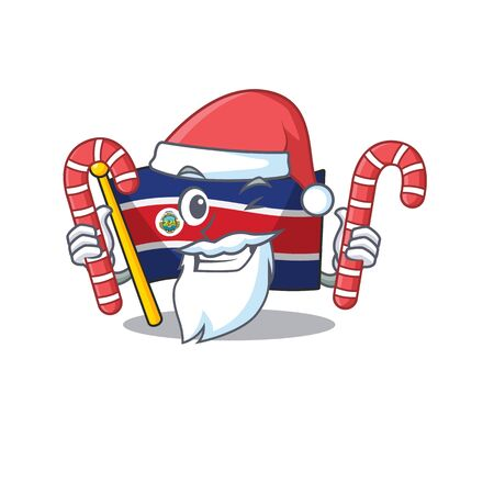 Happy flag costa rica Scroll Cartoon character in Santa with candy. Vector illustration
