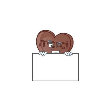 Grinning one bite love chocolate cartoon character style hides behind a board. Vector illustration