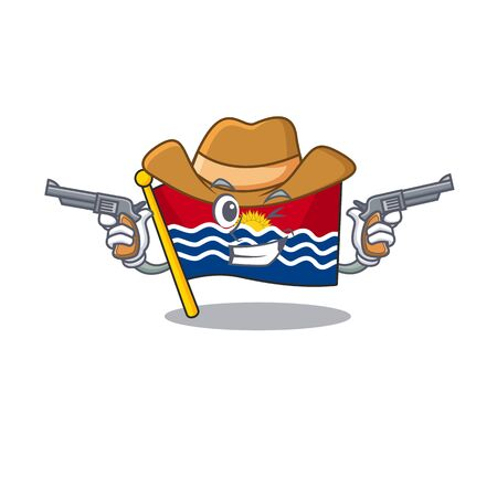 Flag kiribati Scroll mascot performed as a Cowboy with guns. Vector illustration 向量圖像