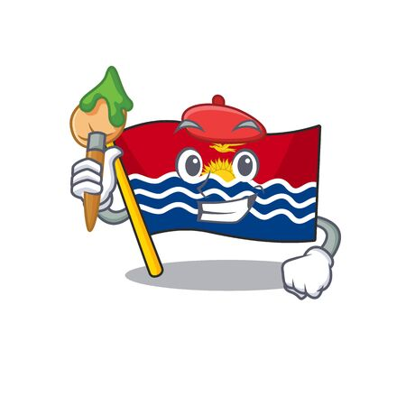 Funny flag kiribati Scroll Artist cartoon character holding brush. Vector illustration