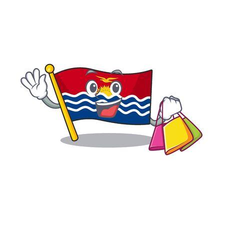 Happy face flag kiribati Scroll mascot style waving and holding Shopping bag. Vector illustration