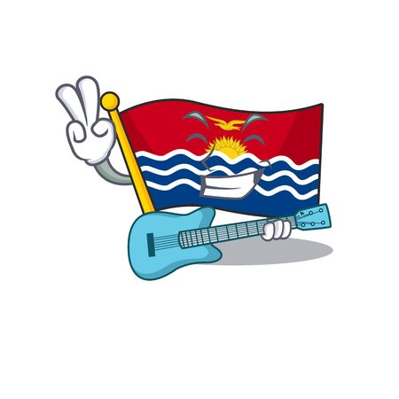Supper cool flag kiribati Scroll cartoon performance with guitar. Vector illustration