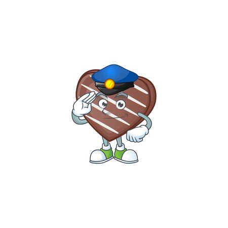 A character design of stripes chocolate bar in a Police officer costume