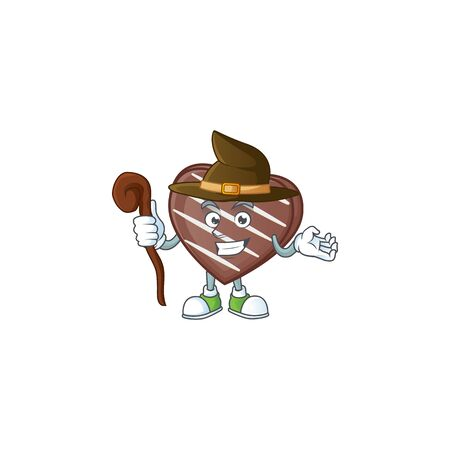 cartoon mascot style of stripes chocolate bar dressed as a witch. Vector illustration