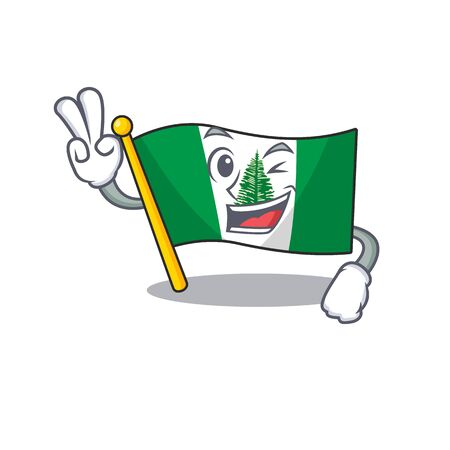 Smiley mascot of flag norfolk island cartoon Character with two fingers. Vector illustration