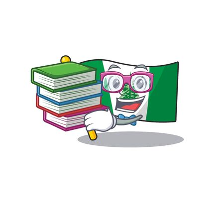 Cool and clever Student flag norfolk island mascot cartoon with book. Vector illustration Vektorové ilustrace