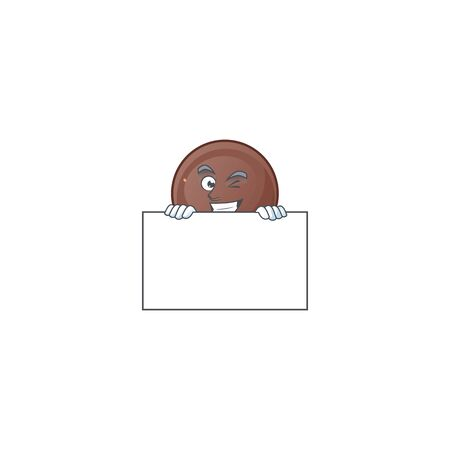 Grinning face chocolate ball cartoon character style hides behind a board