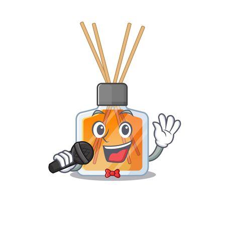 Happy air freshener sticks singing on a microphone 일러스트