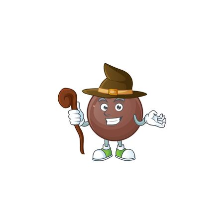 cartoon mascot style of chocolate ball dressed as a witch