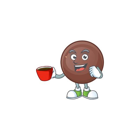 cartoon character of chocolate ball with a cup of coffee