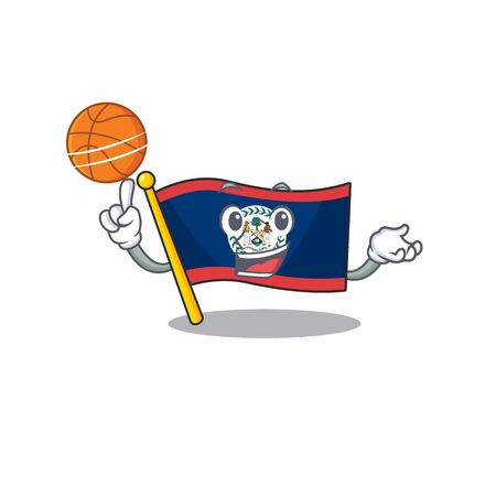 A mascot picture of flag belize cartoon character playing basketball. Vector illustration