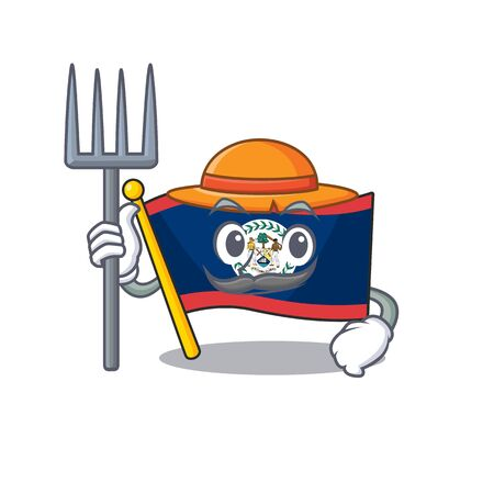 Cheerfully Farmer flag belize cartoon picture with hat and tools. Vector illustration Illustration