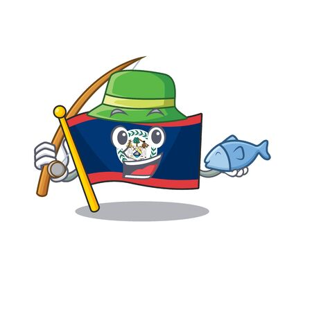 A Picture of happy Fishing flag belize design. Vector illustration