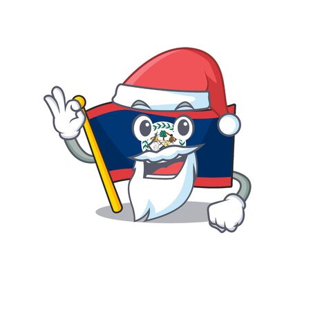 A picture of Santa flag belize mascot picture style with ok finger. Vector illustration Illustration
