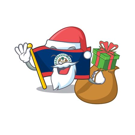 Santa flag belize Cartoon character design having box of gift. Vector illustration