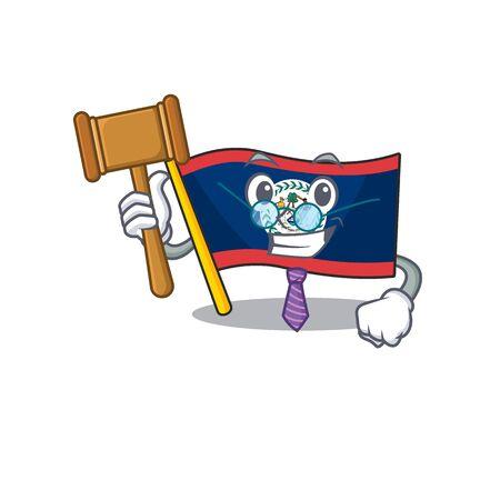 Smart Judge flag belize in mascot cartoon character style. Vector illustration