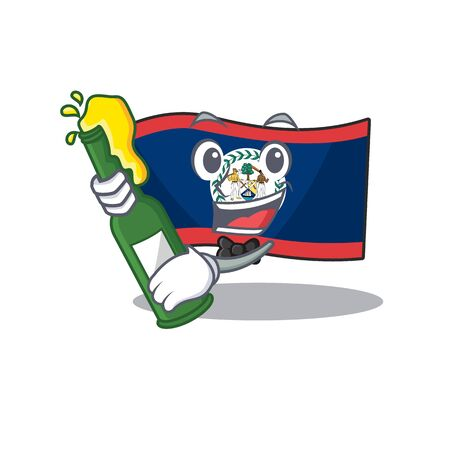 mascot cartoon design of flag belize with bottle of beer. Vector illustration