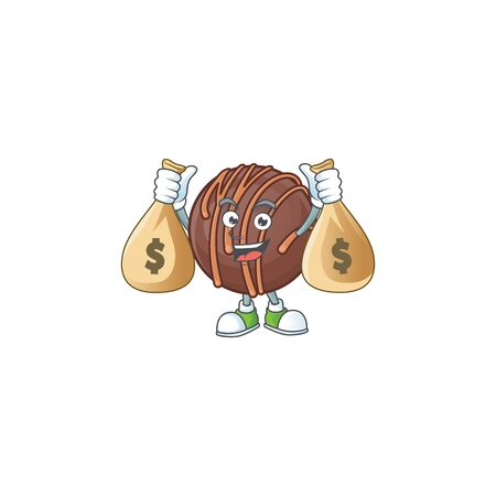 A picture of rich chocolate praline ball cartoon character with two money bags. Vector illustration