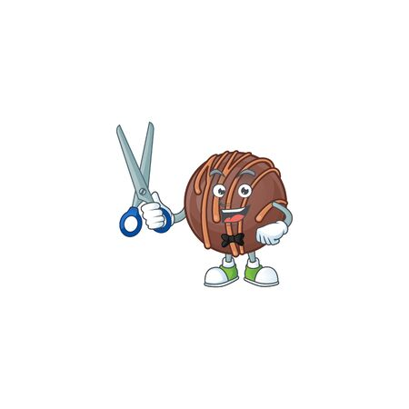 Cool friendly barber chocolate praline ball cartoon character style 矢量图像