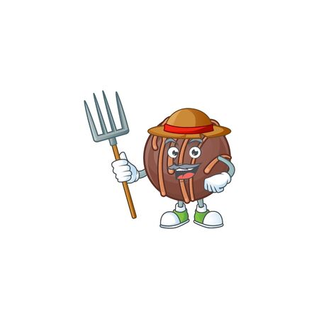 Cute Farmer chocolate praline ball cartoon mascot with hat and tools 矢量图像