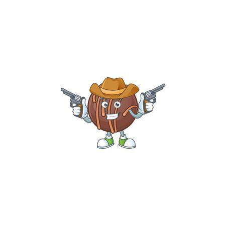 Confident chocolate praline ball Cowboy cartoon character holding guns  イラスト・ベクター素材