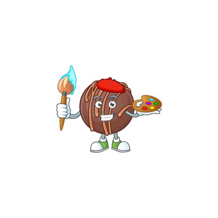 Smart chocolate praline ball painter mascot icon with brush. Vector illustration 矢量图像